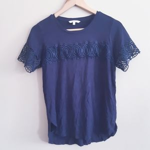 Alfred Sung | dark navy tee with lace front detail